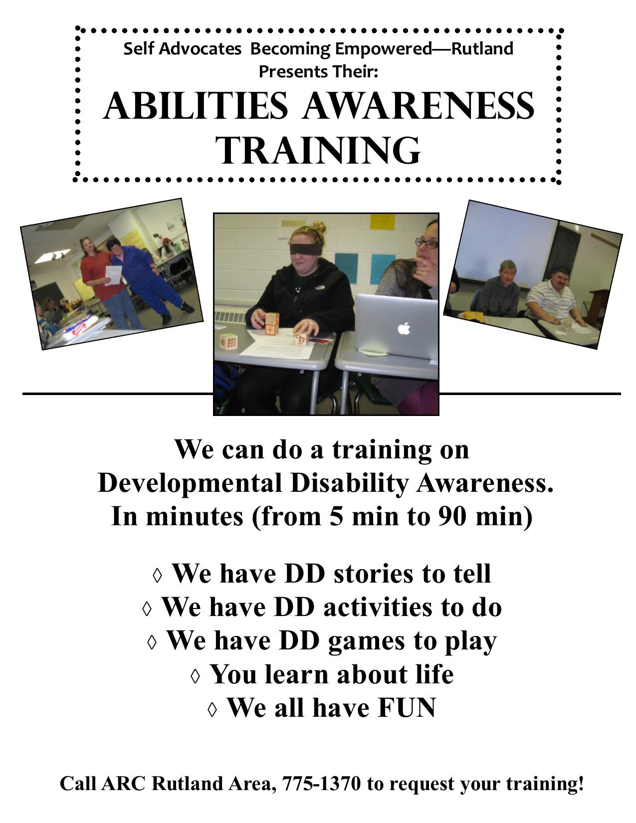 ARC of the Rutland Area Abilities Awareness Training.