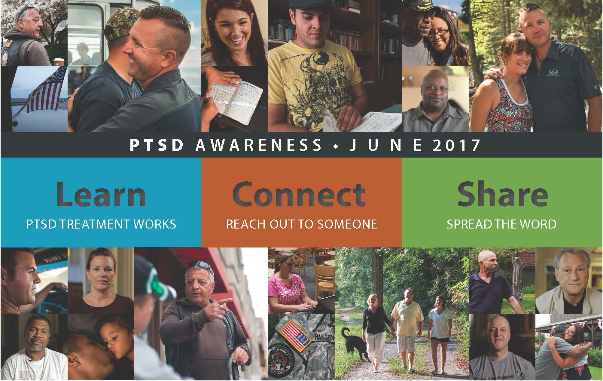 PTSD Awareness Month. Learn. Connect. Share.