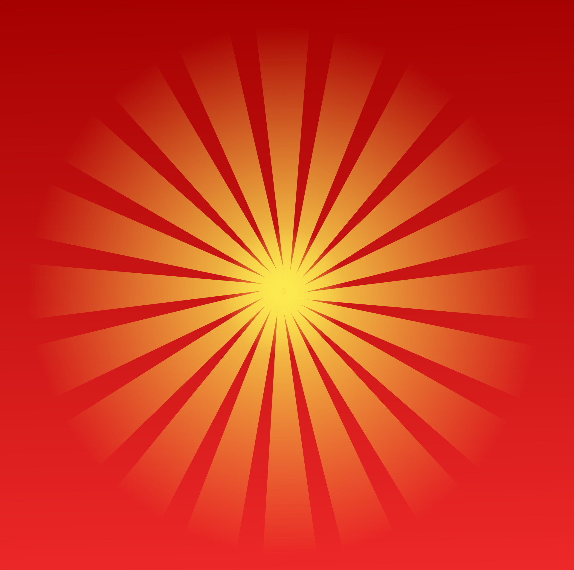 A yellow sun on a red background.